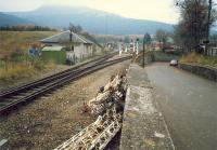 Crianlarich looking south to the station. The unattractive pile of rusty things is the remains of the old semaphore signalposts.<br><br>[Ewan Crawford&nbsp;//1987]