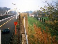 Looking east at Longniddry showing the station and to the right the one time freight bypass.<br><br>[Ewan Crawford&nbsp;//1987]
