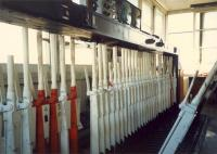 On borrowed time ... Ardrossan harbour box. The lever frame. Somehow the box survived the resignalling which came with the Ayrshire electrification. But not for long.<br><br>[Ewan Crawford&nbsp;//1987]