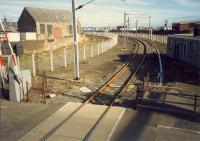 Ardrossan Harbour approach seen from the signalbox. Much reduced. Off to the left ran the lines to Ardrossan North and to the right others to the breakwater [see image 36336].<br><br>[Ewan Crawford&nbsp;//1987]