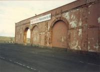 The Ardrossan welcome, Welcome to Ar. Following the closure of Winton Pier station and cut back to the new Ardrossan Harbour station this site greeted passengers from the ferry.<br><br>[Ewan Crawford&nbsp;//1987]