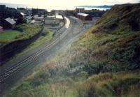 Ardrossan Town where quite a bit of track was lifted recently. Off to the left there had been carriage sidings but the more recently lifted track was the double track, bay platforms and goods.<br><br>[Ewan Crawford&nbsp;//1987]