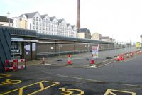 Nothing happening at Haymarket (think about it) on Sunday 16 April 2006.  The area of the car park destined to become the new bay platform 0 at Haymarket station, now cordoned off and designated a construction site.<br><br>[John Furnevel&nbsp;16/04/2006]