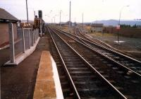 Irvine looking south. The 08 was used in local sidings as both the stump of the line to Crosshouse (left and now lifted) and harbour (right) were in use.<br><br>[Ewan Crawford&nbsp;//1987]