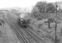 Having turned at Largs 45366 returns to its train at Fairlie pier junction.<br><br>[John Robin&nbsp;15/08/1963]