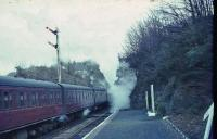 Standard tank 80000 makes a smoky departure from Fairlie High with Largs train on 11 April 1966.<br><br>[John Robin&nbsp;11/04/1966]