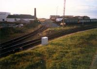Newton-on-Ayr looking west to the freight lines. The DMUs sit in sidings which are the cut-back of the original Ayr station which was off to the left.<br><br>[Ewan Crawford&nbsp;//1987]