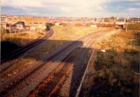 Ayr Harbour Junction looking to Falkland Yard. The bottom to right curve was originally a tramway later taken over by the railway.<br><br>[Ewan Crawford&nbsp;//1987]