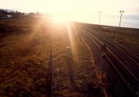 Ayr Harbour Junction looking into a blinding sunset. The layout has been altered since then - the line most to the right being lifted and junction made behind the camera.<br><br>[Ewan Crawford&nbsp;//1987]