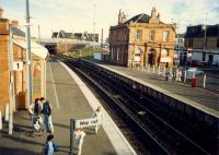 Saltcoats looking east showing its fine buildings. Off to the right nearby the harbour branch was end of the Ardrossan Waggonway from Eglinton to Saltcoats.<br><br>[Ewan Crawford&nbsp;//1987]