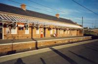 Glasgow bound station building at Saltcoats.<br><br>[Ewan Crawford&nbsp;//1987]