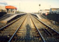 Looking east at Stevenston from the level crossing.<br><br>[Ewan Crawford&nbsp;//1987]