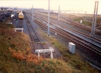 Looking south over Falkland Yard in 1987. In addition to the normal coal traffic the yard was being used to store redundant DMUs following the electrification of the line.<br><br>[Ewan Crawford&nbsp;//1987]