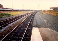 Newton-on-Ayr looking to Falkland yard. Much of the yard was being used to store carriages and spare DMUs following electrification.<br><br>[Ewan Crawford&nbsp;//1987]