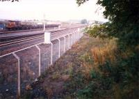 Elderslie looking north, taken from the stump of the old station overbridge. The canal line came in from the right.<br><br>[Ewan Crawford&nbsp;//1987]