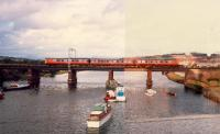 Westbound train crosses Leven Viaduct. Right hand side of photograph spoiled by double exposure ... very cheap camera.<br><br>[Ewan Crawford&nbsp;//1987]