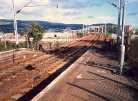 Dalreoch looking east over the Leven Viaduct to Dumbarton Central.<br><br>[Ewan Crawford&nbsp;//1987]