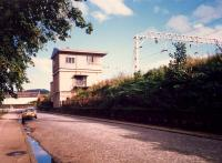 The signalbox just east of Dumbarton Central. Closed by the Yoker re-signalling scheme it still stands but is now boarded up.<br><br>[Ewan Crawford&nbsp;//1987]