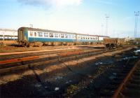 Carriages in the down sidings at Polmadie. Access by kind permission of British Rail.<br><br>[Ewan Crawford&nbsp;//1987]