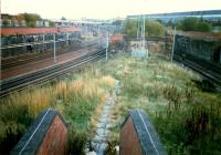 Glasgow Central Junction. The Glasgow Central lines (left) part company from the General Terminus lines (right). The view looks east to Larkfield. The junction was crossed by the approach lines to South Side and later St Enoch from the Barrhead direction.<br><br>[Ewan Crawford&nbsp;//1987]