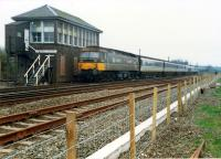 A 477 propels a Glasgow train past the box at Greenhill Upper Junction.<br><br>[Ewan Crawford&nbsp;//1987]