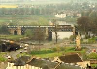 Southbound train crossing the viaduct north of Stirling.<br><br>[Ewan Crawford&nbsp;//1988]