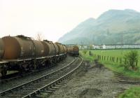 Molasses wagons at Glenochil Yeast. Viewed from closed goods station.//8390,8391,8392,8393,16317,16318<br><br>[Ewan Crawford&nbsp;//1988]