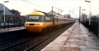 In a very heavy downpour a 125 diverted from the ECML heads north through Lockerbie. The Dumfries route once branched off to the left.<br><br>[Ewan Crawford&nbsp;//1988]