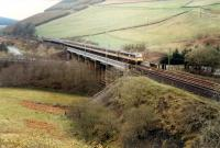 Southbound train crosses the Harthope Viaduct before the land was scarred with more roads.<br><br>[Ewan Crawford&nbsp;//1988]
