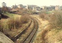 Looking west over the former Lynedoch station on the Princes Pier line in 1988. The extensive goods yard was in the distant right and at a much lower level. For the situation 23 years later [see image 33483].<br><br>[Ewan Crawford&nbsp;//1988]