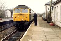 Exchange of tokens ar Barrhill. 47 on southbound train.<br><br>[Ewan Crawford&nbsp;19/03/1988]