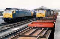 Stabling point, Stranraer Town. Some engines running, some not. Access by kind permission of British Rail.<br><br>[Ewan Crawford&nbsp;19/03/1988]
