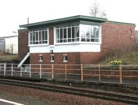 Dumfries signal box in April 2006. The box stands at the north end of the up platform.<br><br>[John Furnevel&nbsp;17/04/2006]