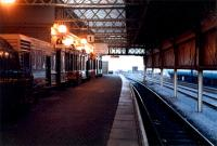 Looking to the buffers in the new trainshed at Stranraer Harbour.<br><br>[Ewan Crawford&nbsp;//1988]