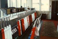 Inside Stranraer Harbours signalbox. Note the semaphore signal hard against the box (back window). Complete with obligatory section of carpet. Access by kind permission of British Rail.<br><br>[Ewan Crawford&nbsp;//1988]