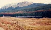Northbound 37 approaches the redundant distant signal south of Crianlarich.<br><br>[Ewan Crawford&nbsp;//1988]
