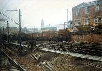 Muirhouse CE Workshops seen from passing southbound DMU. These sidings are no longer in use.<br><br>[Ewan Crawford&nbsp;//1988]