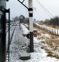 View from DMU halted in Lugton loop. The approaching DMU is about to run into the loop alongside and to the left.<br><br>[Ewan Crawford&nbsp;//1988]