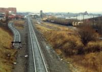From left to right; distllery headshunt, line from Barrhead, stub of line from Dalry, Long Lyes Sidings.<br><br>[Ewan Crawford&nbsp;//1988]