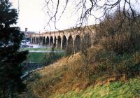 The viaduct to the south of Kilmarnock station (distant).<br><br>[Ewan Crawford&nbsp;//1988]