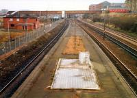 Rutherglen, closed mainline station, looking east. Near here the Polloc and Govan Railway and Clydesdale Junction Railway connected. Building on left demolished.<br><br>[Ewan Crawford&nbsp;//1988]