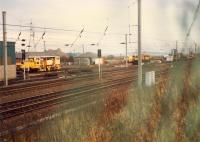 Just east of Rutherglen Central Junction is the Rutherglen Permanent Way Depot. This view looks east in 1988.<br><br>[Ewan Crawford&nbsp;//1988]