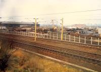 Just east of Rutherglen Central Junction is the Rutherglen Permanent Way Depot. This 1988 view looks west.<br><br>[Ewan Crawford&nbsp;//1988]