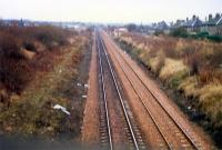Carmyle, Rutherglen platforms, looking east towards the junction. The Glasgow Central platforms were to the left. The new Carmyle station was built here.<br><br>[Ewan Crawford&nbsp;//1988]