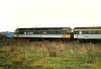Diverted from the E&G line is 47 701 Saint Andrew heading east at the site of Clyde Iron. After diversions that day the R&C was officially closed to passengers only to re-open with new stations a few years later.<br><br>[Ewan Crawford&nbsp;//1988]