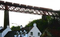 Diners at the Hawes Inn are forced to raise their voices a little as a coal train rumbles south over the rooftops of South Queensferry on a summer evening in 2006.<br><br>[John Furnevel&nbsp;22/06/2006]