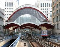 A Docklands Light Railway service leaves Canary Wharf northbound on 22 July 2005.<br><br>[John Furnevel&nbsp;22/07/2005]