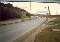 Looking east at what was once part of the railway serving the Queens Dock. The line connected to the mainline at Stobcross. To the left is the open former Stobcross Railway. The dock lines are now the Clydeside Expressway. [See image 49784]<br><br>[Ewan Crawford&nbsp;//1988]