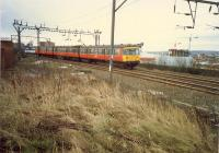 Yorkhill looking east. Here there was a station, a shed, lines to Kelvinhaugh goods (high level) and a line down to the Queens Dock. Access by kind permission of British Rail.<br><br>[Ewan Crawford&nbsp;//1988]