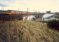 Yorkhill looking west. Here there was a station, a shed, lines to Kelvinhaugh goods (high level) and a line down to the Queens Dock. Access by kind permission of British Rail.<br><br>[Ewan Crawford&nbsp;//1988]